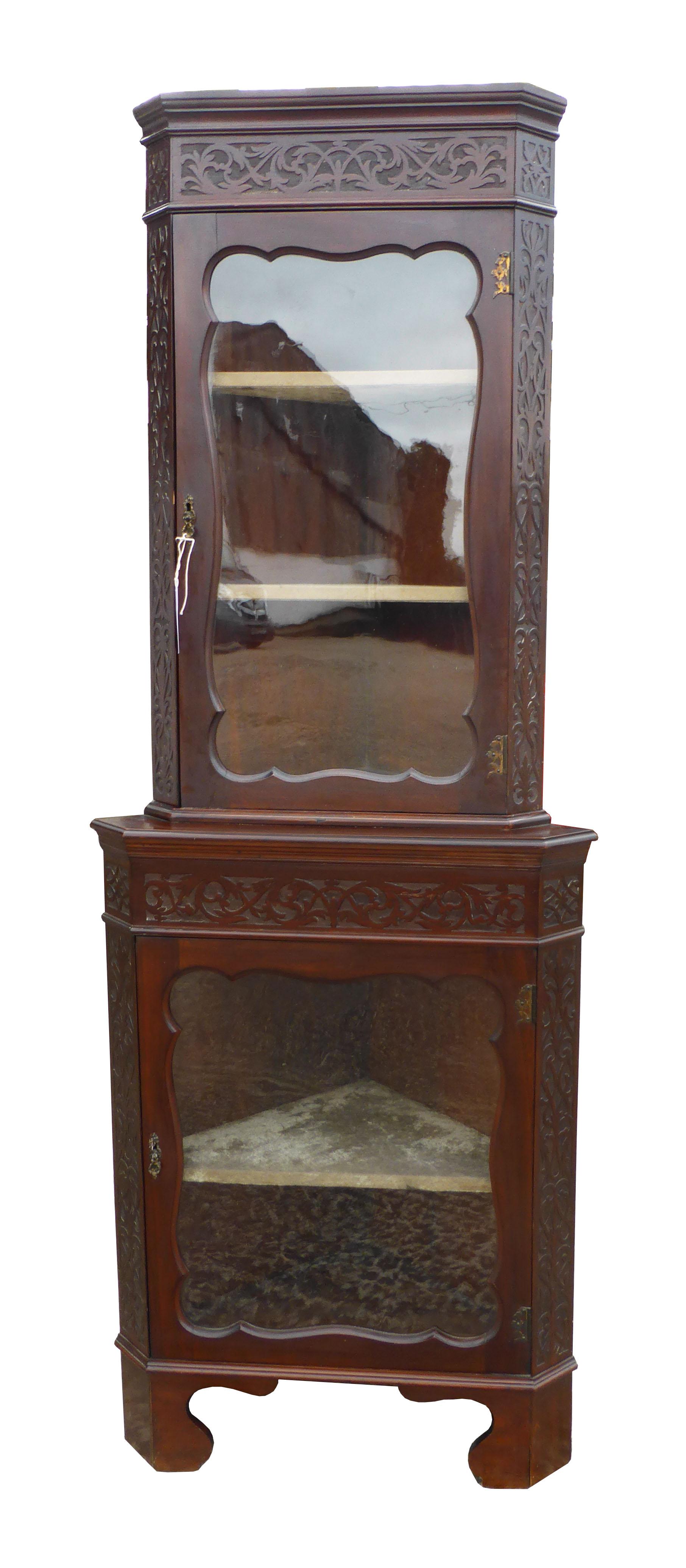 ec84cb3b9ba9 28 A Edwardian Blind Fretwork Corner Cabinet CVX