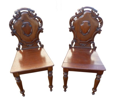 108 Pair of Victorian Mahogany Hall Chairs VCX