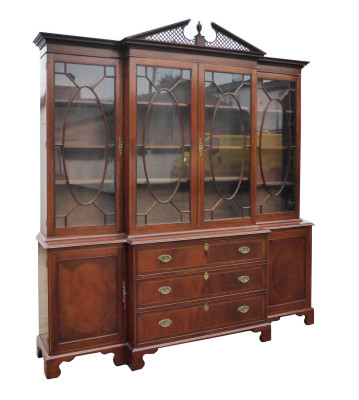 2 A Mahogany Inlaid Breakfront Bookcase CNXX