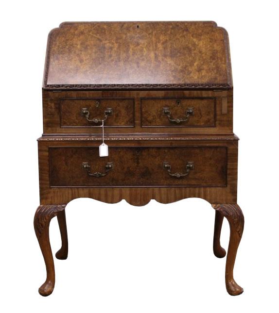 Queen Anne Style Burr Walnut Bureau FGB Antiques