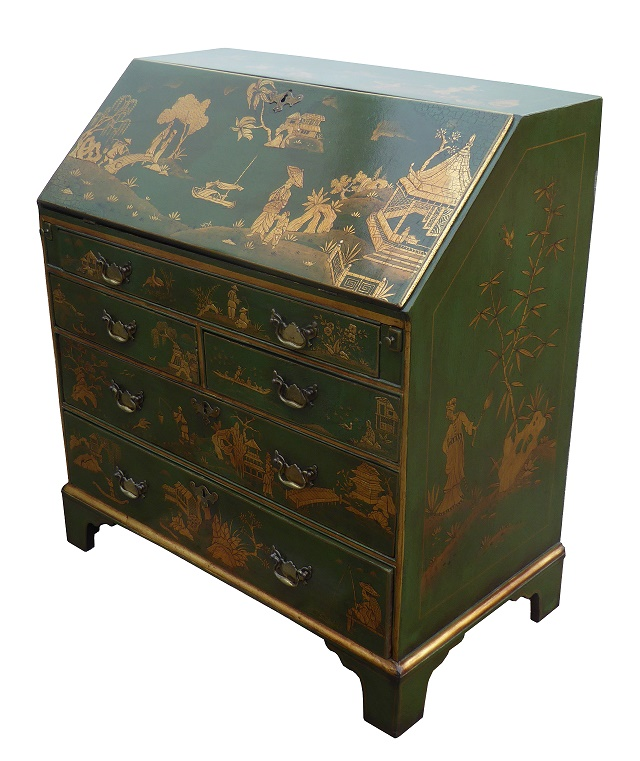 18th century green chinoiserie bureau fgb antiques. Black Bedroom Furniture Sets. Home Design Ideas