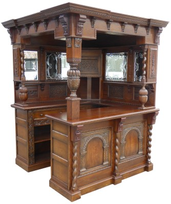 18 A Carved Oak Corner Bar ACIX W 64.5 D 63.75 H 84