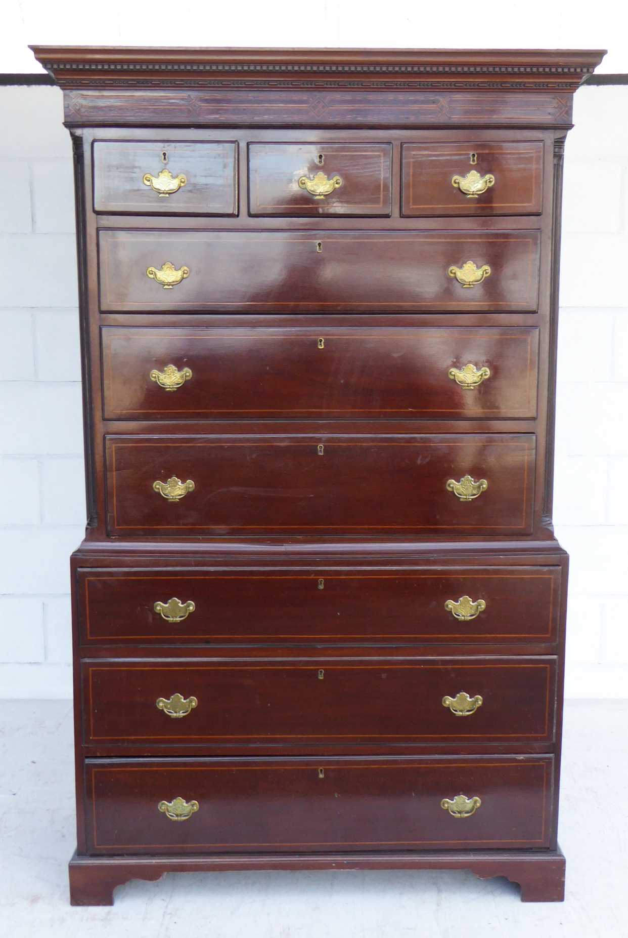 George Iii Mahogany Inlaid Chest On Chest Fgb Antiques
