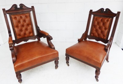 407 A Pair of Victorian Leather Chairs CCXX