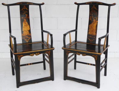424 A Pair of 19th Century Chinoiserie Arm Chairs IVX