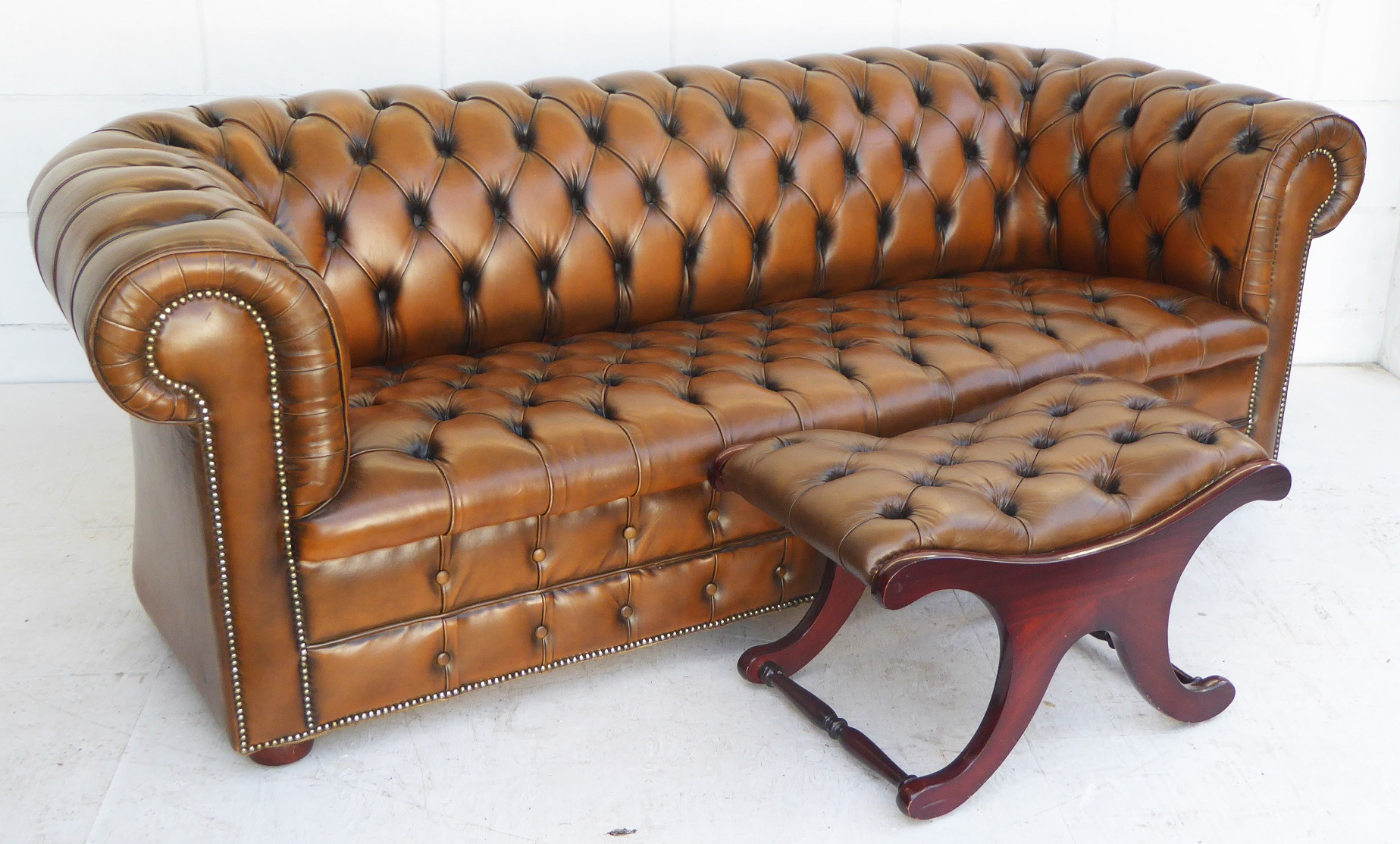 Large Chesterfield Sofa & Matching Stool | FGB Antiques