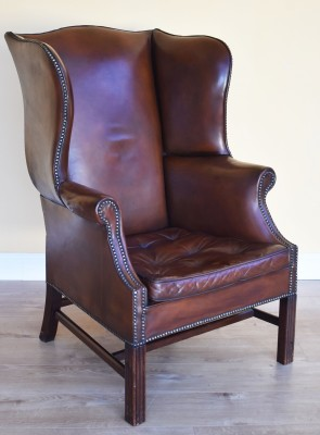 552 A 20th Century Leather Wing Chair HIX