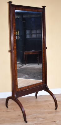 557 A Regency Mahogany Cheval Mirror NNX