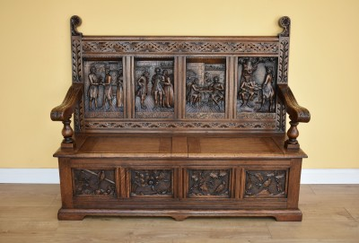 589 A 19th Century Carved Oak Bench CXXX