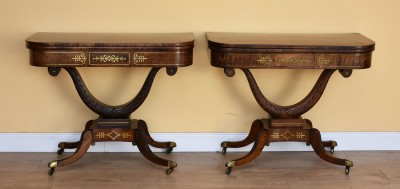 594 A Pair of Regency Rosewood Card Table VHXX