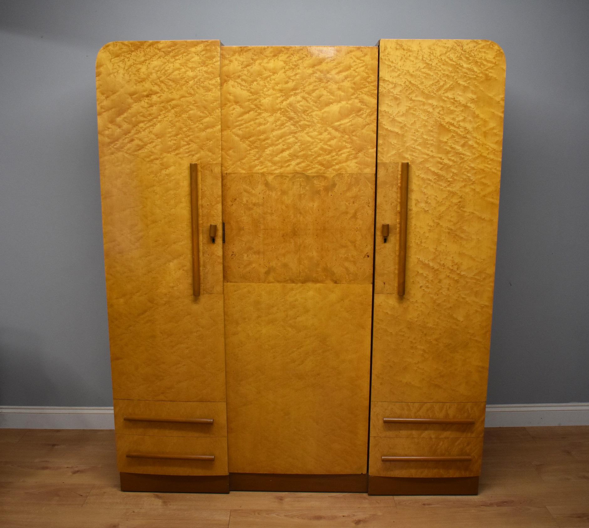 Edwardian (1901-1910) Edwardian Satinwood And Birdseye Maple Wardrobe Antique Furniture