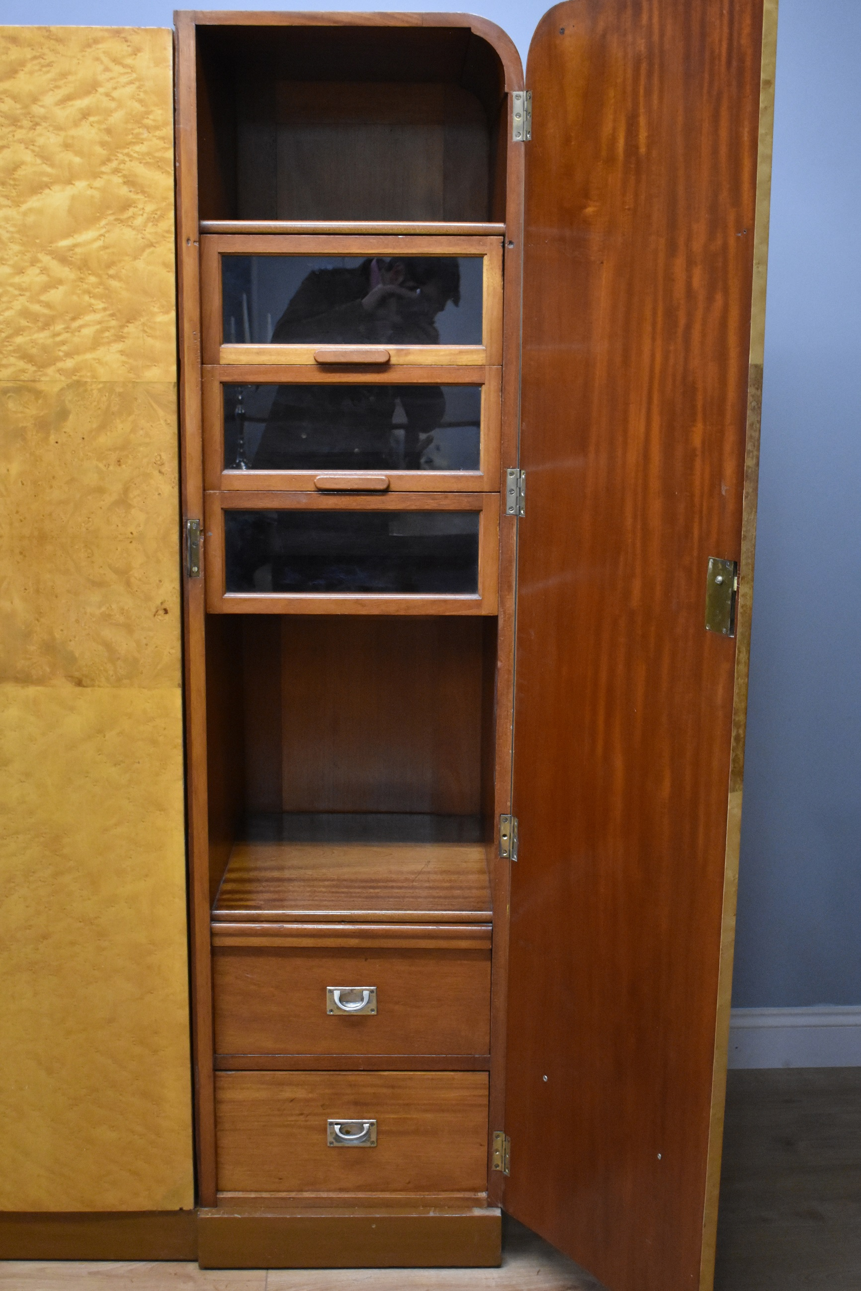 Armoires/wardrobes Edwardian Satinwood And Birdseye Maple Wardrobe