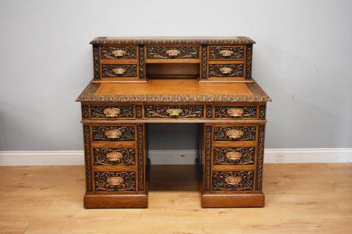 705 A Victorian Carved Oak Desk DDN